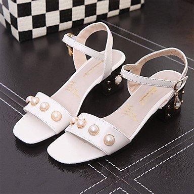 YFF Sandales femmes chaussures printemps été Robe Club PU occasionnels Talon Imitation Boucle Perle blanche,NOUS,6.5-7 / EU37 / UK4,5-5 / CN37
