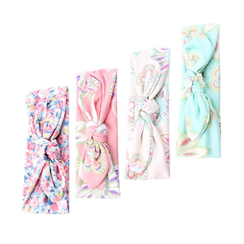 COUXILY Baby's Floral Headband Bunny Ears Turban Knotted Headwrap for Infant Toddler and Kids (4 pcs Bow) - Floral Bunny
