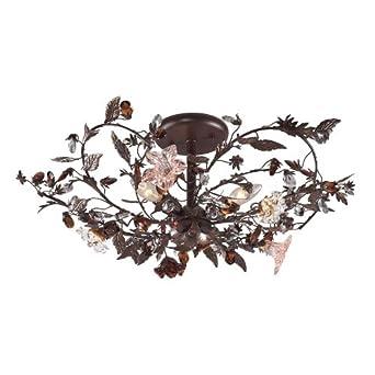 Elk Lighting 70463 Cristallo Fiore 3 Light Floral Semi Flush Mount
