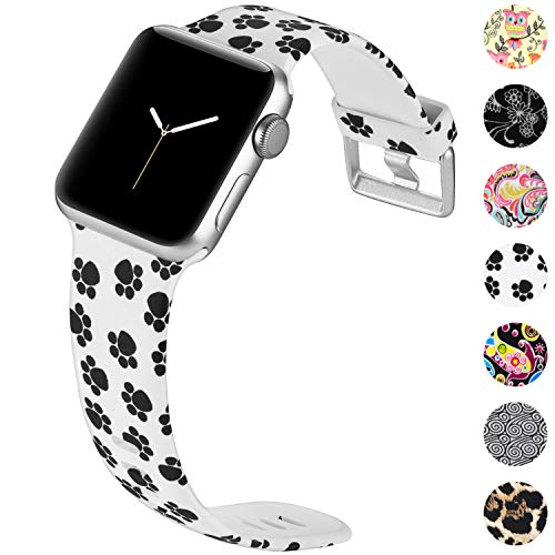 KOLEK Sport Band Compatible with Apple Watch Series 4/3/2/1, Cute Replacement Bracelet for iWatch 42mm 44mm, Paw Print, S/M