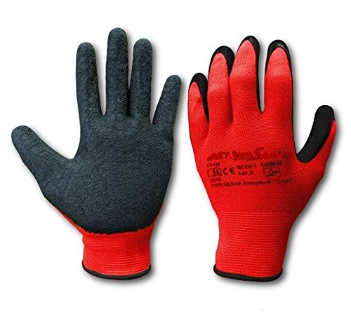 1 Pair LATEX COATED RUBBER WORK GLOVES SAFE BUILDER GRIP GARDENING Size 7 Small