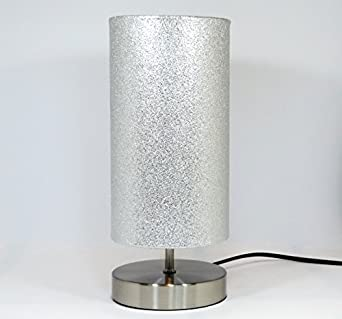 Attractive Silver Glitter Metallic Lamp Light Lampshade Chrome Base Bedside Table Desk  Lamp Lamps Night Light Bedroom Accessories Room Decor Gifts [Energy Class  A++]