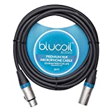 Blucoil Audio Balanced XLR Cable - Premium Series 3-Pin Microphone Cable, Speakers and Pro Devices Cable, Black, 10 Feet