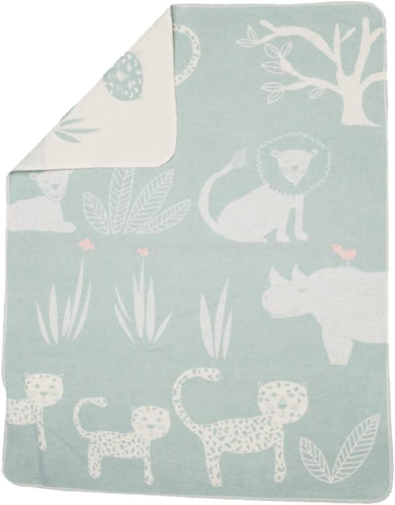 David Fussenegger Light Green Jungle Cotton Flannel Blanket