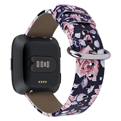 For Fitbit Versa Band, Premium Leather Replacement Strap Wrist Bands Acessory with Stainless Metal Clasp for Fitbit Versa Smart Watch Men Women Type-T4