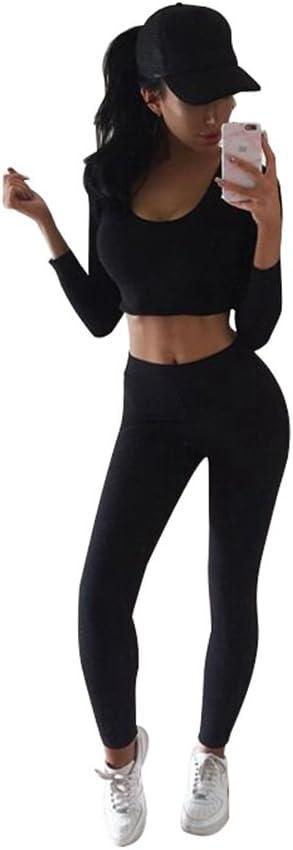 YiLianDa Donne Tuta da Ginnastica Manica Lunga Sport Fitness Jogging Skinny Pantaloni Felpa