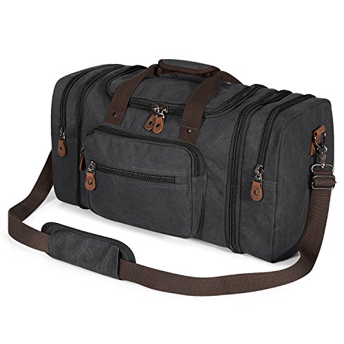 Plambag Oversized Canvas Duffle Bag 50L Tote Travel Weekend Luggage Gym Bag Dark Grey