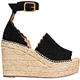 Syktkmx Womens Peep Toe Espadrille D'Orsay Platform Wedge Heeled Summer Suede Dress Sandals