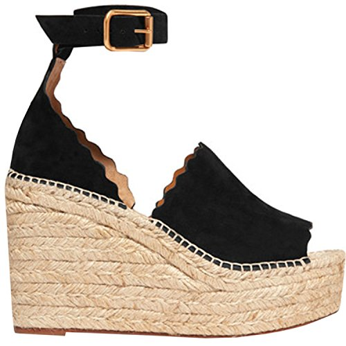 Wedge Platform Strap Toe Sandals Black Peep Sandals Womens Heel Ankle Ermonn Braided Mid Espadrille xSwZHpR