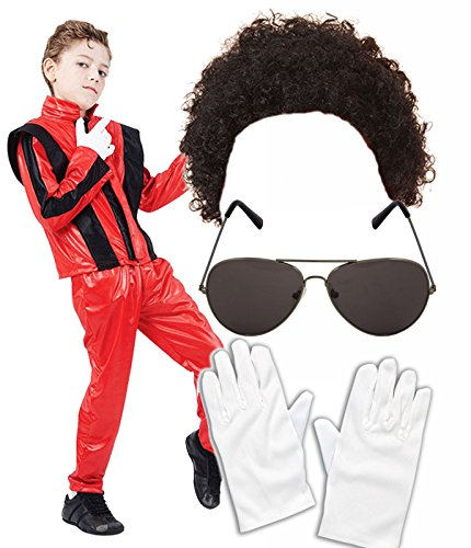 Boys Michael Jackson 80s Fancy Dress Costume with Wig, Glasses & Gloves Age (Michael Jackson Thriller Fancy Dress)