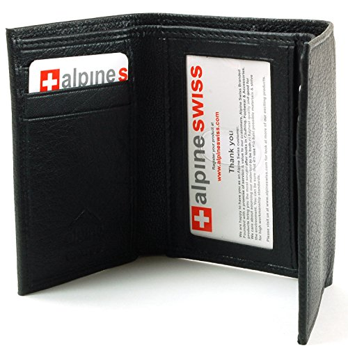 Alpine Swiss Men's Genuine Leather Trifold Wallet Black