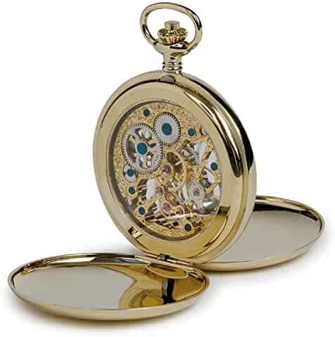 Oxford Hunter Pocket Watch with Skeleton Dial - Gold