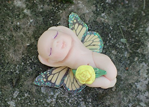 Miniature Yellow Fairy Garden Baby, Girl Boy Fairy Figurine, Butterfly Fairy Babies, Fairy Garden Figure