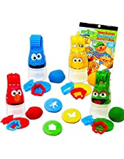 Sesame Street Elmo Party Favor Set for Toddlers Kids ~ 24-Pc Bundle with Clay Dough, Dough Roller, Molds, and Stickers (Party Supplies)