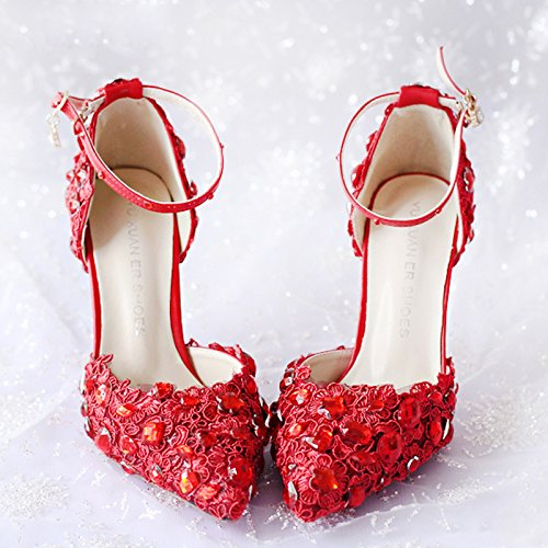 VIVIOO Prom Sandals Shoes Donna Diamond Heels Red White Lace Diamond Donna Bride Wedding Shoes With High Heels Fine Dress Shoes Pointed Sandals,7Cm Heel White,7.5 - b4e078