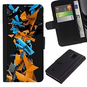 NEECELL GIFT forCITY // Billetera de cuero Caso Cubierta de protección Carcasa / Leather Wallet Case for Samsung Galaxy Note 4 IV // Patrón Geometría abstracta del Cyber