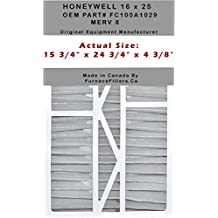 "Honeywell 16 x 25 Part # FC100A1029 MERV 8. Actual Size 15 7/8"" x 24 3/4"" x 4 3/8"". Case of 3 Aftermarket Made by FurnaceFilters.Ca"