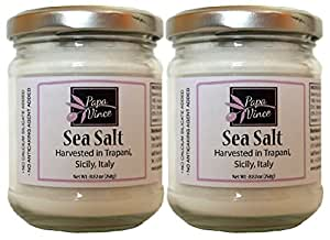 Harvested Sea Salt Trapani Sicily - NO CHEMICALLY PROCESSED. Mild flavor, moist & fine texture | Solar-evaporated, all-natural, unrefined & additive-free | 8.82 oz [2-Pack] Papa Vince