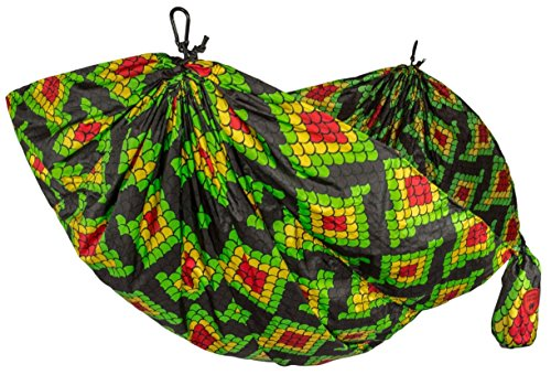 Grand Trunk Double Hammock with Carabiners and Hanging Kit - Prints and Patterns Parachute Nylon - Rasta