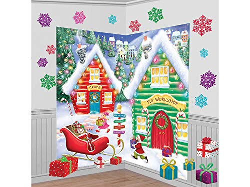 (amscan North Pole Wall Scene Setters Kit, 32 Ct. | Christmas Decoration)