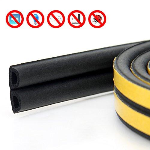 Door window Anti-collision Self Adhesive Rubber Weatherproof Seal for Cracks and gaps 50 Feet (D BLACK)