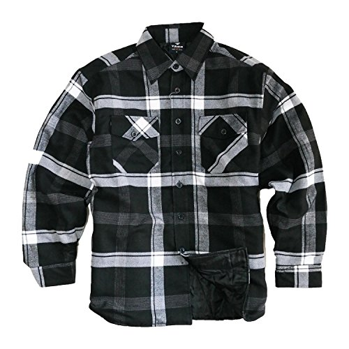 - YAGO Men's Quilted Lined Long Sleeve Flannel Plaid Button Down Shirt YG2611 (Black/White/Gray, 5X-Large)