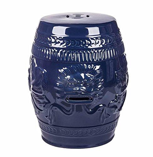 - Abbyson Asian Lion Green Ceramic Garden Stool, Navy Blue