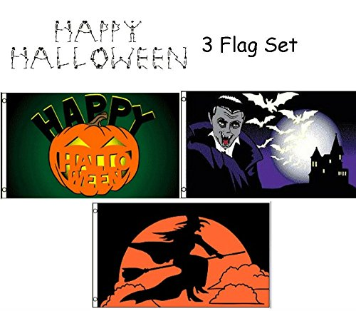 ALBATROS 3 ft x 5 ft Happy Halloween 3 Flag Set #13 House Banner Grommets for Home and Parades, Official Party, All Weather Indoors Outdoors]()