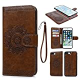 iPhone 8 Plus Leather Case, iPhone 7 Plus Wallet Case Embossed Totem Oil Wax PU Leather TPU Flip Cover Detachable Magnetic Card Slot Holder for iPhone 7 Plus & iPhone 8 Plus Brown