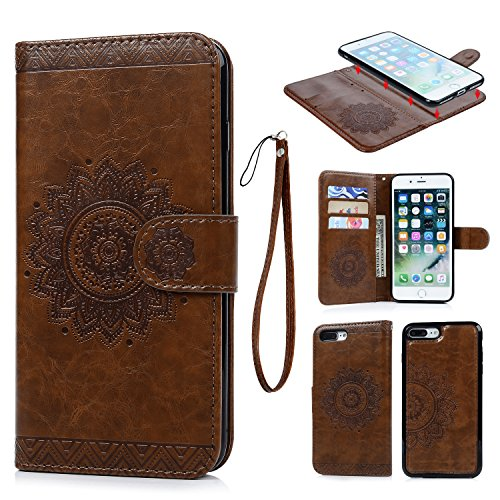 iPhone 7 Plus Wallet Case with Card Holder, iPhone 8 Plus Cover Premium PU Leather Kickstand Card Slots Shell Magnetic Clasp Skin for iPhone 7 Plus & 8 Plus (Embossed Totem)
