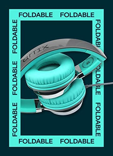 Artix CL750 Foldable Noise Isolating On Ear Headphones Wired with Microphone and Volume Control, Stereo Head Phones Corded with Adjustable Headband for Computer, Laptop and Cell Phone (Turquoise/Gray) 51LjBFdZAXL