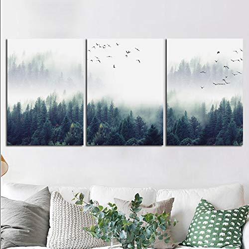 Cartel de lienzo de paisaje de bosque y pajaro inmovil e impresionpinturamodernacuadro de pared decoracion del hogar para sala de estar 40X60cmx3 piezas sin marco