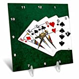 3dRose Alexis Photo-Art - Poker Hands - Poker Hands One Pair, King - 6x6 Desk Clock (dc_270574_1)
