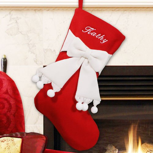 GiftsForYouNow Red and Ivory Bow Personalized Christmas S...