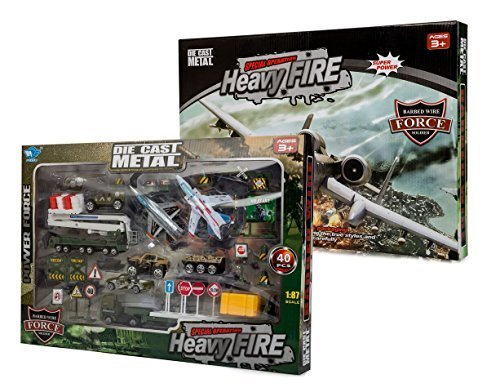 Big-Daddy Die-Cast Metal Special Operations Heavy Fire Kids Toy Military Air Craft Play Set Over 40 Pieces Included In This Imaginary War Zone