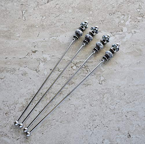 Glass Beaded Swizzle Sticks in Silver, Black and White - Set of 4, ()