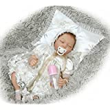 Dirance 22 Inch Lifelike Reborn Doll Sleeping Soft Silicone Full Body Realistic Princess Girl Doll Vinyl Reallike Newborn Baby Doll Outfits, Kids Gift for Ages 3+,Under 100 Dollars (White)