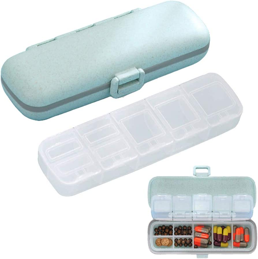 SALEMAR Small Pill Organizer,7 Compartments Travel Pill Case for Pocket or Purse Daily Pill Box for Vitamin Fish Oil (Blue)