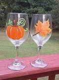 Orange Maple Leaf & Pumpkin (Set of 2) Stemmed Hand Painted 20 oz Wine Glasses Review