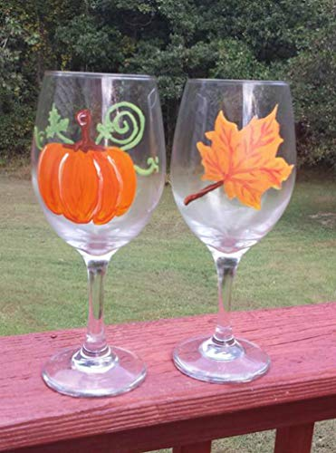 (Orange Maple Leaf & Pumpkin (Set of 2) Stemmed Hand Painted 20 oz Wine)