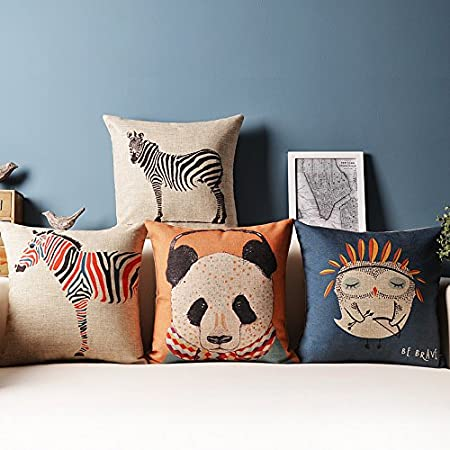 e7d37a92a Mylunn(TM)Decorative panda zebra pillow cushion covers capa de almofada  pillowcase 18 inches  Amazon.co.uk  Kitchen   Home
