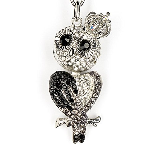Lilly Rocket Black White Hoot Owl Bling Key Chain Keyring With Swarovski Crystal
