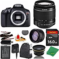Great Value Bundle for T6 DSLR – 18-55mm STM + 16GB Memory + Wide Angle + Telephoto Lens + Backpack