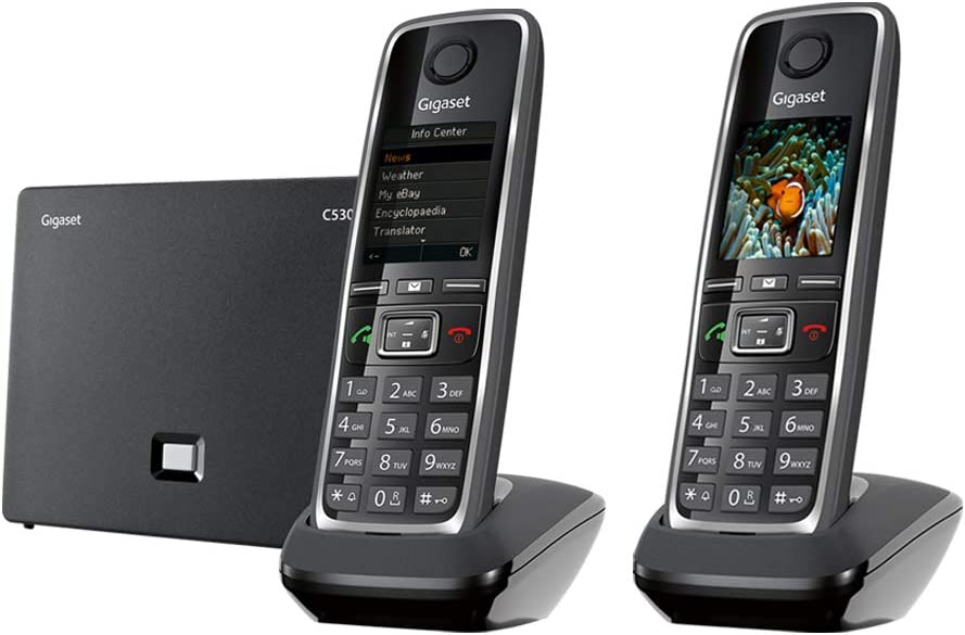 Gigaset C530 IP Duo – Cordless VoIP Phone with 1 Additional Handset with Intercom Function, Portable Telephone for Small Businesses or Home, Supports Landline and IP (Black, Pack of 2)