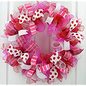 Valentine's Day Wreath | Valentine Wreath | Valentines Mesh Door Wreath; Red Pink White Purple : V1 60