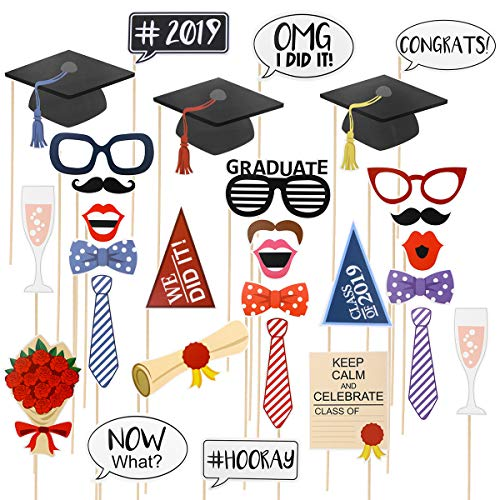 LUOEM 2019 Senior Class Photo Booth Props Graduation Party Decorations 30pcs Trencher Caps Bow Ties Eyeglasses Funny Images Pose Sign for Graduation Party Favors -