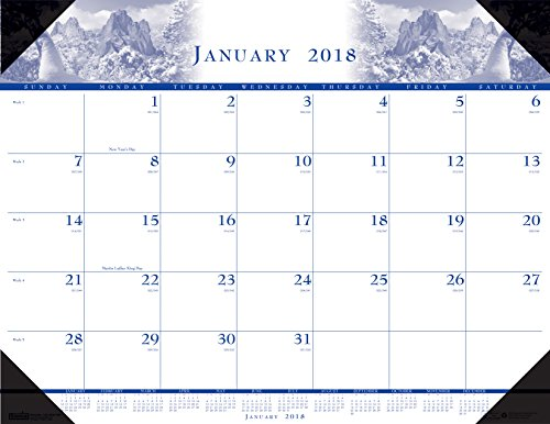 (House of Doolittle 2018 Monthly Desk Pad Calendar, Illustrated, 22 x 17 Inches, January - December (HOD140-18))