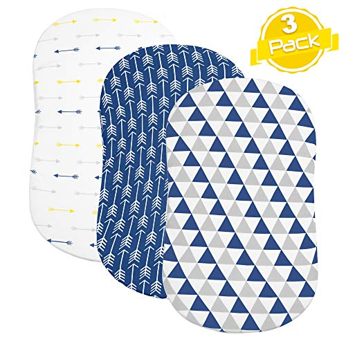 BaeBae Goods Bassinet Sheet Set | Navy Triangles | Super Soft Jersey Knit Cotton | 3 Pack | 150 GSM