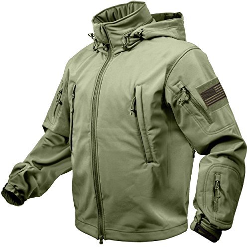 (Rothco Special Ops Tactical Soft Shell Jacket with Patches Bundle (XX-Large, Olive Drab with Olive Patches))