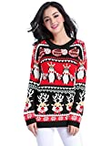 Product review for V28 Ugly Christmas Sweater, Women Girl Long Vintage Knit Xmas Warm Pulli Sweater